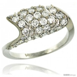 14k White Gold Diamond Engagement Ring w/ 1.32 Carats Brilliant Cut (H-I Color SI1 Clarity) Diamonds, 5/16 in. (8.5mm) wide