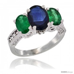 14K White Gold Ladies 3-Stone Oval Natural Blue Sapphire Ring with Emerald Sides Diamond Accent