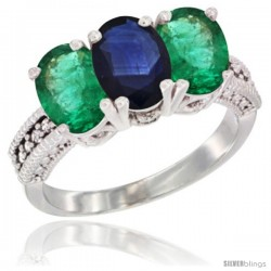 14K White Gold Natural Blue Sapphire & Emerald Sides Ring 3-Stone 7x5 mm Oval Diamond Accent