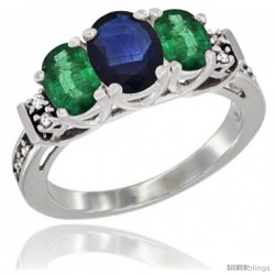 14K White Gold Natural Blue Sapphire & Emerald Ring 3-Stone Oval with Diamond Accent