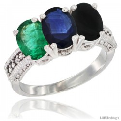 14K White Gold Natural Emerald, Blue Sapphire & Black Onyx Ring 3-Stone 7x5 mm Oval Diamond Accent