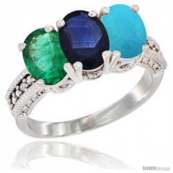 14K White Gold Natural Emerald, Blue Sapphire & Turquoise Ring 3-Stone 7x5 mm Oval Diamond Accent