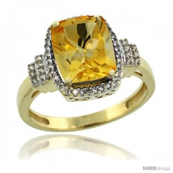 14k Yellow Gold Diamond Halo Citrine Ring 2.4 ct Cushion Cut 9x7 mm, 1/2 in wide