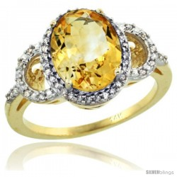 14k Yellow Gold Diamond Halo Citrine Ring 2.4 ct Oval Stone 10x8 mm, 1/2 in wide