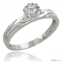 10k White Gold Diamond Engagement Ring 0.06 cttw Brilliant Cut, 1/8in. 3.5mm wide -Style Ljw014er