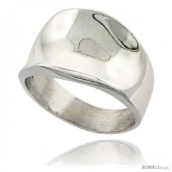 Sterling Silver Short Concave Cigar Band Ring Handmade, 9/16 in wide