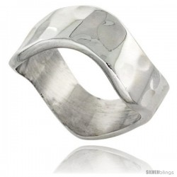 Sterling Silver Heavy Wave Band, 5/16 in wide