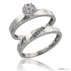 10k White Gold Diamond Engagement Rings Set 2-Piece 0.09 cttw Brilliant Cut, 1/8 in wide -Style Ljw015e2