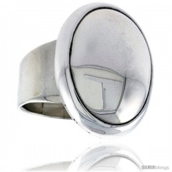 Sterling Silver Large Oval Signet Ring 1 in wide