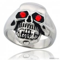 Surgical Steel Biker Skull Ring Red CZ Eyes 13/16 in