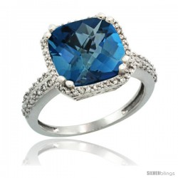 14k White Gold Diamond Halo London Blue Topaz Ring Checkerboard Cushion 11 mm 5.85 ct 1/2 in wide