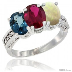 14K White Gold Natural London Blue Topaz, Ruby & Opal Ring 3-Stone 7x5 mm Oval Diamond Accent