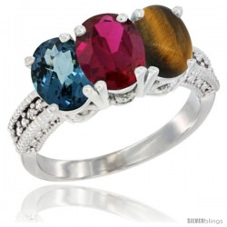 14K White Gold Natural London Blue Topaz, Ruby & Tiger Eye Ring 3-Stone 7x5 mm Oval Diamond Accent