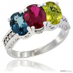 14K White Gold Natural London Blue Topaz, Ruby & Lemon Quartz Ring 3-Stone 7x5 mm Oval Diamond Accent