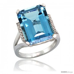14k White Gold Diamond London Blue Topaz Ring 12 ct Emerald Cut 16x12 stone 3/4 in wide