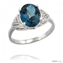 14k White Gold Diamond London Blue Topaz Ring 2.40 ct Oval 10x8 Stone 3/8 in wide