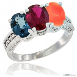 14K White Gold Natural London Blue Topaz, Ruby & Coral Ring 3-Stone 7x5 mm Oval Diamond Accent