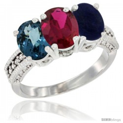 14K White Gold Natural London Blue Topaz, Ruby & Lapis Ring 3-Stone 7x5 mm Oval Diamond Accent