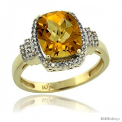 10k Yellow Gold Diamond Halo Whisky Quartz Ring 2.4 ct Cushion Cut 9x7 mm, 1/2 in wide