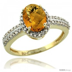 10k Yellow Gold Diamond Halo Whisky Quartz Ring 1.2 ct Oval Stone 8x6 mm, 3/8 in wide