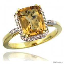 10k Yellow Gold Diamond Whisky Quartz Ring 2.53 ct Emerald Shape 9x7 mm, 1/2 in wide