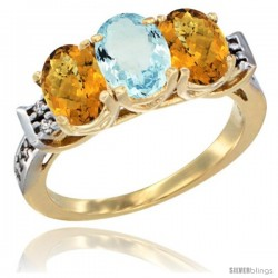 10K Yellow Gold Natural Aquamarine & Whisky Quartz Sides Ring 3-Stone Oval 7x5 mm Diamond Accent