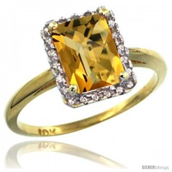 10k Yellow Gold Diamond Whisky Quartz Ring 1.6 ct Emerald Shape 8x6 mm, 1/2 in wide