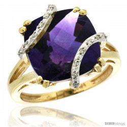 10k Yellow Gold Diamond Amethyst Ring 7.5 ct Cushion Cut 12 mm Stone, 1/2 in wide