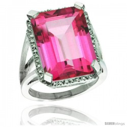 Sterling Silver Diamond Natural Pink Topaz Ring 14.96 ct Emerald Shape 18x13 mm Stone, 13/16 in wide