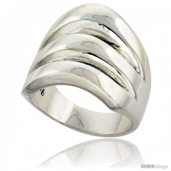 Sterling Silver Domed Cigarband Ring w/ 3 splits 3/4 in wide