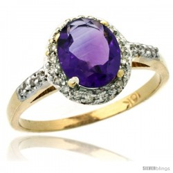 10k Yellow Gold Diamond Amethyst Ring Oval Stone 8x6 mm 1.17 ct 3/8 in wide