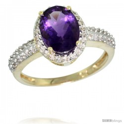 10k Yellow Gold Diamond Amethyst Ring Oval Stone 9x7 mm 1.76 ct 1/2 in wide