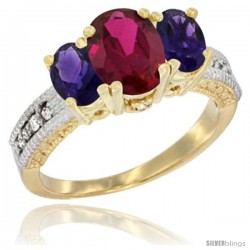10K Yellow Gold Ladies Oval Natural Ruby 3-Stone Ring with Amethyst Sides Diamond Accent