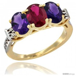 10K Yellow Gold Natural Ruby & Amethyst Sides Ring 3-Stone Oval 7x5 mm Diamond Accent