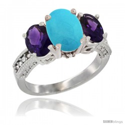 10K White Gold Ladies Natural Turquoise Oval 3 Stone Ring with Amethyst Sides Diamond Accent