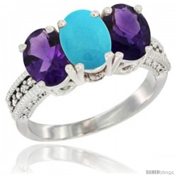10K White Gold Natural Turquoise & Amethyst Sides Ring 3-Stone Oval 7x5 mm Diamond Accent