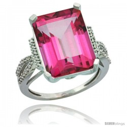 Sterling Silver Diamond Natural Pink Topaz Ring 12 ct Emerald Shape 16x12 Stone 3/4 in wide