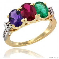 10K Yellow Gold Natural Amethyst, Ruby & Emerald Ring 3-Stone Oval 7x5 mm Diamond Accent
