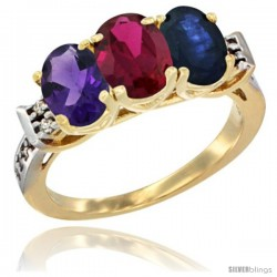 10K Yellow Gold Natural Amethyst, Ruby & Blue Sapphire Ring 3-Stone Oval 7x5 mm Diamond Accent