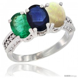 14K White Gold Natural Emerald, Blue Sapphire & Opal Ring 3-Stone 7x5 mm Oval Diamond Accent