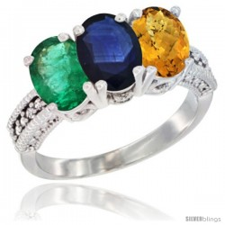 14K White Gold Natural Emerald, Blue Sapphire & Whisky Quartz Ring 3-Stone 7x5 mm Oval Diamond Accent