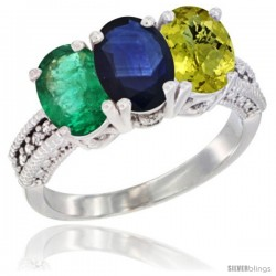 14K White Gold Natural Emerald, Blue Sapphire & Lemon Quartz Ring 3-Stone 7x5 mm Oval Diamond Accent