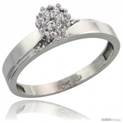 10k White Gold Diamond Engagement Ring 0.06 cttw Brilliant Cut, 1/8in. 3.5mm wide -Style Ljw015er