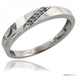10k White Gold Ladies Diamond Wedding Band Ring 0.03 cttw Brilliant Cut, 1/8 in wide -Style Ljw015lb