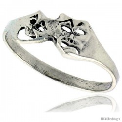 Sterling Silver Small Comedy Drama Masks Ring