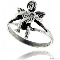 Sterling Silver I LOVE YOU w/ Cupid Ring, 11/16 in wide