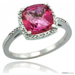 Sterling Silver Diamond Natural Pink Topaz Ring 2.08 ct Cushion cut 8 mm Stone 1/2 in wide