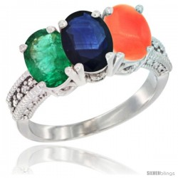 14K White Gold Natural Emerald, Blue Sapphire & Coral Ring 3-Stone 7x5 mm Oval Diamond Accent
