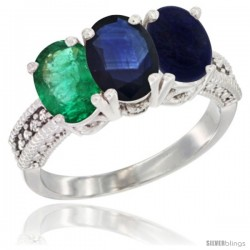 14K White Gold Natural Emerald, Blue Sapphire & Lapis Ring 3-Stone 7x5 mm Oval Diamond Accent