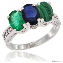 14K White Gold Natural Emerald, Blue Sapphire & Malachite Ring 3-Stone 7x5 mm Oval Diamond Accent